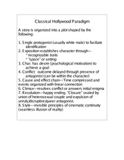 The Classical Hollywood Paradigm
