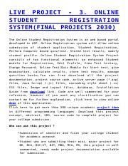 05 pdf - LIVE PROJECT 3 ONLINE STUDENT REGISTRATION SYSTEM(FINAL