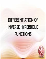 Derivative of Inverse Hyperbolic Functions Lesson 25