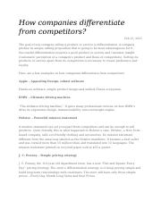 week 1 How companies differentiate from competitors.docx