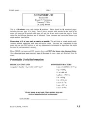 Exam 1 Spring 2014 on Chemistry for Engineers