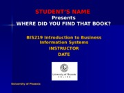 XBIS 219 Week 8 Assignment - Where Did You Find that Book
