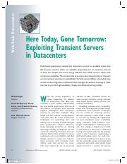 Here Today, Gone Tomorrow Exploiting Transient Servers in Datacenters