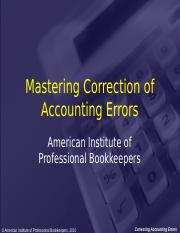 Mastering Correction of Accounting Errors.ppt