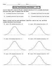 normal distributions worksheet 3.pdf - Name Per Date Normal ...