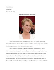 Report on Artist--Meryl Streep