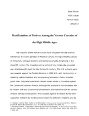 Manifestations of Motives Among the Various Crusades of the High Middle Ages - Template Paper