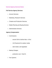 Service Agency Services Notes