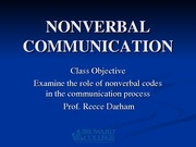 SPC 1024 Lecture 4 NONVERBAL COMMUNICATION2