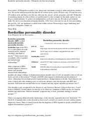 Borderline personality disorder research paper outline