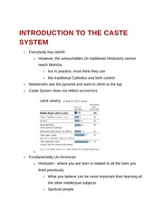 Introduction to the Caste System