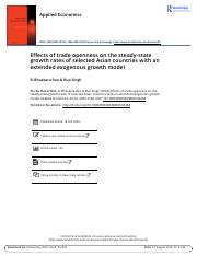 Effects of trade openness on the steady state growth rates of selected Asian countries with an exten