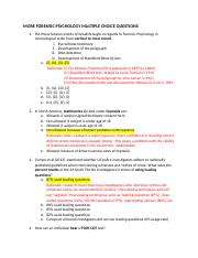 ANSWER KEY + RATIONALE - MORE FORENSIC PSYCHOLOGY MULTIPLE CHOICE QUESTIONS.docx