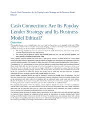 Case 8 Cash Connection Are Its Payday Lender Strategy and Its Business Model Ethical  overview