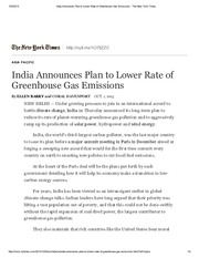 India Announces Plan to Lower Rate of Greenhouse Gas Emissions - The New York Times