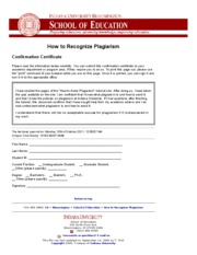 Confirmation Certificate_ How to Recognize Plagiarism ...