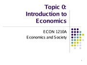 Topic 0 Introduction to Economics