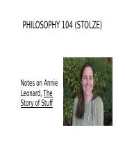 Notes on Leonard, The Story of Stuff.ppt