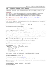 Lab 2 on Numerical solutions Euler's method.