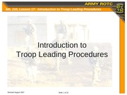 Lesson 17 - Introduction to Troop Leading Procedures