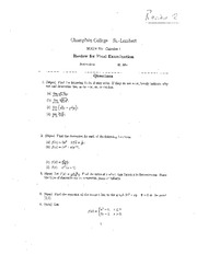 MATH 201 Fall 2012 Final Exam Review Worksheet 2 Solutions