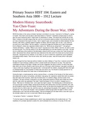 HIST 104 PRIMARY SOURCE EASTERN AND SOUTHERN ASIA 1800 - 1912  DOCUMENT 5