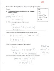 Wavelength, Frequency and Energy Homework Packet Answer Key