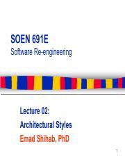 Soen691e 02 Archstyles Pdf Soen 691e Software Re Engineering