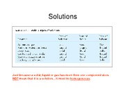 Solutions and solution characterization- for class
