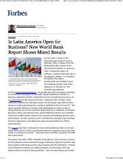 Forbes - Is Latin America Open for Business
