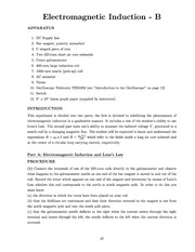 Physics 20801 Lab Instructions on Electromagnetic Induction