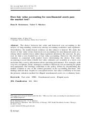 Does fair value accounting for non-financial assets pass the market test