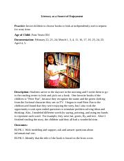 4 Erma Johnson's Language & Literacy In Early Childhood Literacy as a Source of Enjoyment Documentat