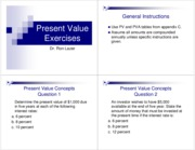 Preseent Value Exercises