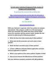 CJA 464 week 3 Individual Assignment Policy Analysis III Compare and Contrast Paper.doc
