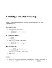Graphing Calculator Workshop