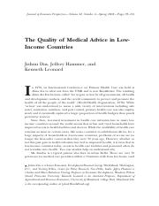 Das, Jishnu, Jeffery Hammer and Kenneth Leonard. The Quality of Medical Advice in Low-Incom [93-114]