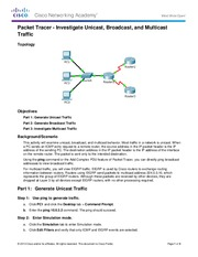 8.1.3.8 Packet Tracer - Investigate Unicast, Broadcast, and Multicast Traffic Instructions