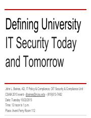 Defining University IT Security