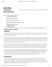 Tea Room Business Plan Sample - Market Analysis _ Bplans