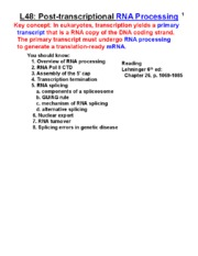 Handout L-48_RNA Processing_Spring 2015