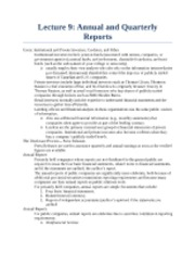 Lecture 9 - Annual and Quarterly Reports