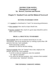 Chapter 09 - Standard Costs and the Balanced Scorecard