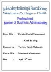 MBA Research Working Capital Managment & Investment