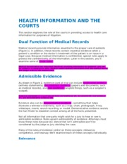 HEALTH INFORMATION AND THE COURTS