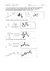 Exam 3 Spring 2002 Solution on Organic Chemistry II