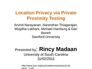 Location Privacy via Private Proximity Testing