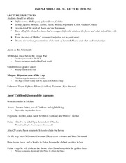 Jason and Medea Lecture Outline