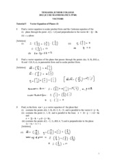 2012 Vectors Tut 5 (Solutions)