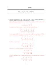 MATH M03 Final Review Answers